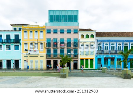 BAHIA, BRAZIL - CIRCA NOV 2014: Pelourinho, the famous Historic Centre of Salvador, Bahia in Brazil. - stock photo