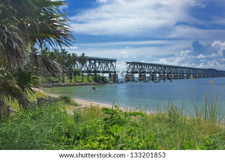 Bahia Honda Bridge and Beach - stock photo