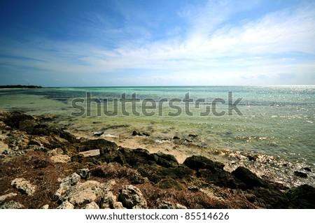 Bahia Honda National Park, Florida Keys, Florida, USA. Rocky Beach and Crystal Clear Atlantic Ocean. - stock photo
