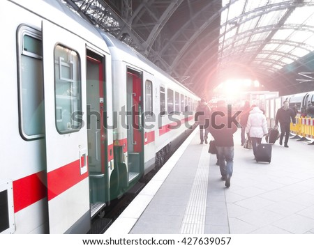 Bahnhof, station, train  - stock photo