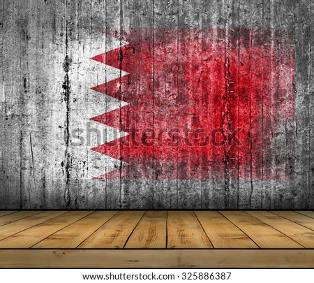 Bahrain flag painted on background texture gray concrete with wooden floor - stock photo