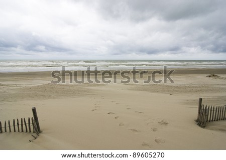 Baie de Somme with upcoming storm - Picardy, France - stock photo