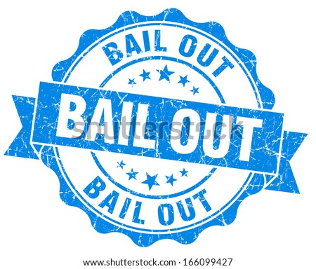 Bail out blue grunge vintage seal - stock photo