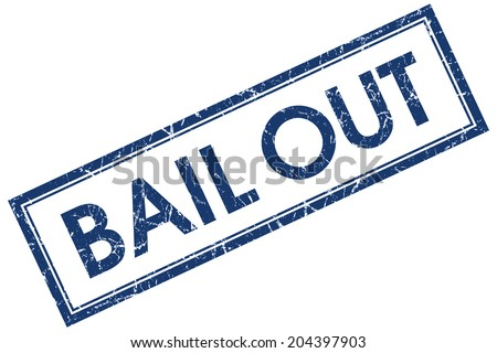 Bail out blue square grungy stamp isolated on white background - stock photo