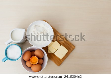 bake ingredients  top view - stock photo