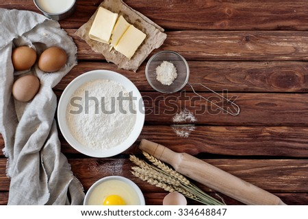 Bake ingredients. Top view. Copy space. Free space for text. Baking ingredients. Food background - stock photo