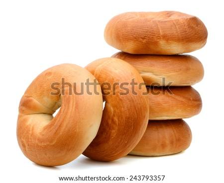 baked bagels isolated on white background  - stock photo
