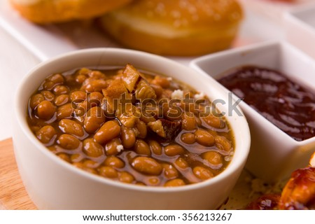 Baked Beans with Bacon Close Up - stock photo