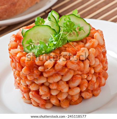 Baked beans with tomato sauce - stock photo