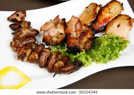 Baked chicken and heart fried - stock photo