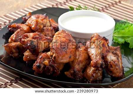 Baked chicken wings in the Asian style - stock photo