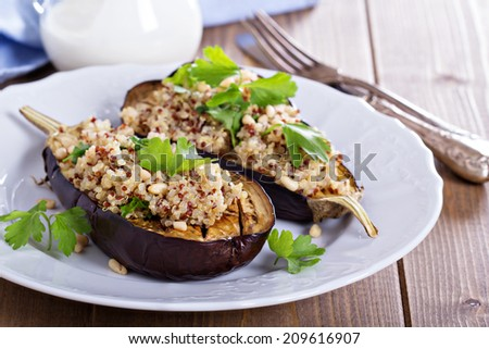 Baked eggplant with quinoa, pine nuts and yogurt - stock photo