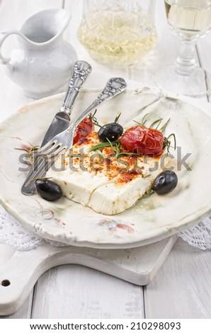 baked feta cheese - stock photo