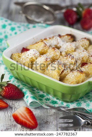 Baked french toast with strawberry. - stock photo