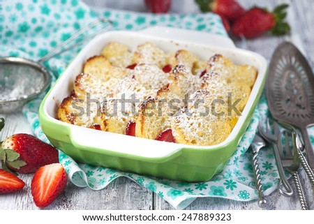 Baked French Toast with strawberry - stock photo