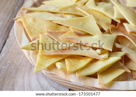 Baked home-made  Mexican nachos. Healthy chips - stock photo