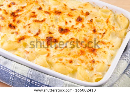 Baked Macaroni and Cheese in a Casserole - stock photo