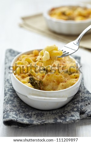 Baked Macaroni and Cheese with broccoli - stock photo