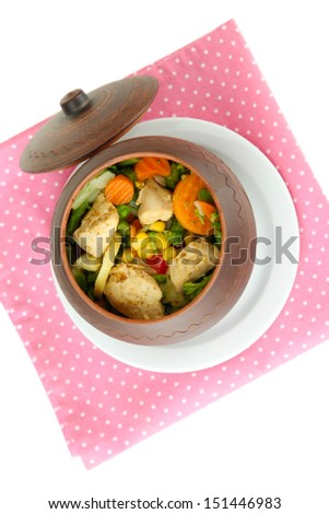 Baked mixed vegetable with chicken breast in pot, isolated on white - stock photo