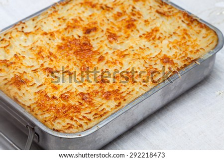 Baked Potato Gratin with Beef Ground Meat  - stock photo