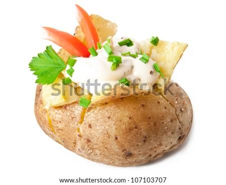 baked potato isolated on white background - stock photo