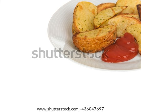 Baked Potato Wedges with Tomato Sauce Against a Plain White Background With Copy Space - stock photo