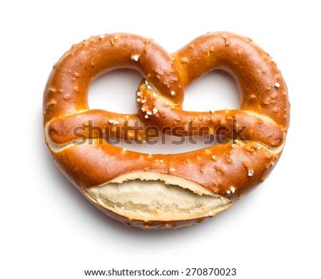 baked pretzel on white background - stock photo