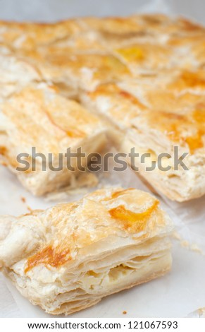 Baked puff pastry pie vertical - stock photo
