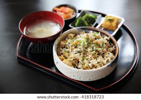 baked rice with scallop japanese food - stock photo