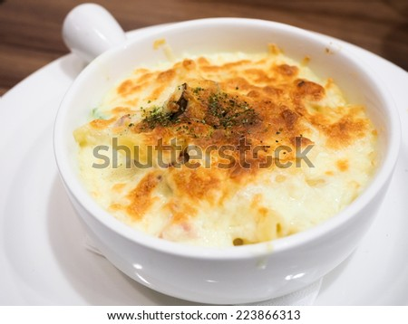 Baked Seafood with Rice - stock photo