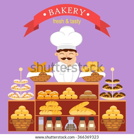 Baker behind the counter with baking bread in the bakery. Illustration of confectionery. Bakery counter and chef in the hat with different pastries.  Bun and chocolate loaf, croissant and cake - stock photo