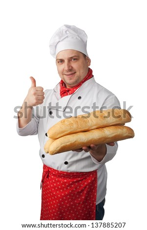 Baker  holds  bread on a white background - stock photo