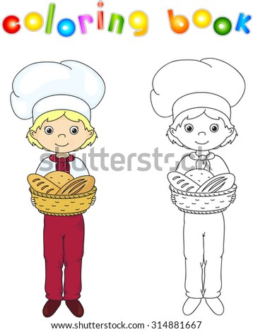 Baker in a cap holding a basket with bread, rolls and baguettes. Coloring book. Game for children.illustration - stock photo