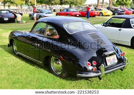 BAKERSFIELD, CA - OCTOBER 4, 2014: Spencer Harris'  rare 1955 model 356A Continental is on display to compete in the local Porsche Club Concours and Display. - stock photo