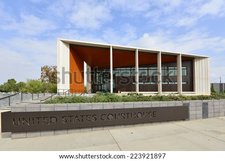 BAKERSFIELD, CA - OCTOBER 15, 2014: This example of modern architecture is a recent addition to the city. The United States Court House also includes the General Services Administration offices. - stock photo