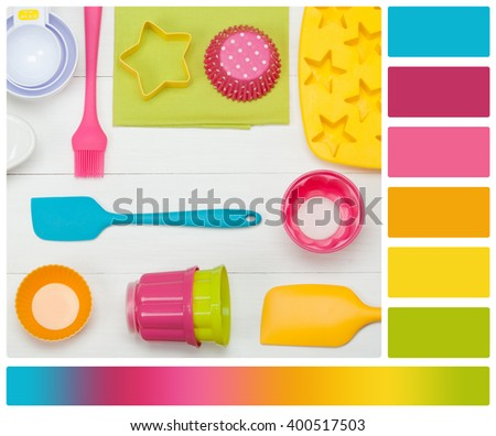 Bakery And Cooking Tools. Silicone Moulds, Cupcake Cases. Measuring Cups. Top View. Palette With Complimentary Colour Swatches - stock photo