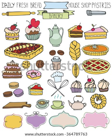 Bakery Doodle.Sweet cakes and pastries icons set with tableware,badges decor.Colored vintage elements for logo,label,menu,cafe shop. Flat hand drawn isolated items collection - stock photo