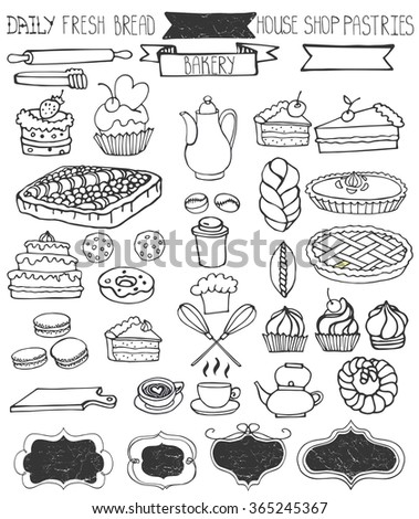 Bakery Doodle .Sweet cakes and pastries icons set with tableware,badges decor.Linear vintage elements for logo,label,menu,cafe shop. Flat hand drawn isolated items collection - stock photo