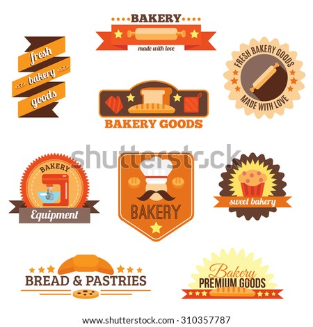 Bakery fresh goods bread pastries and equipment label set isolated  illustration - stock photo