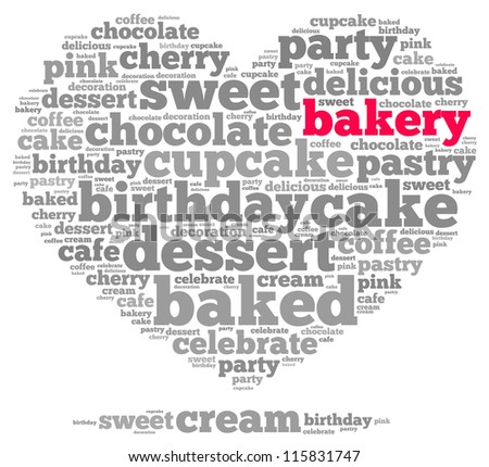 Bakery info-text graphics and arrangement concept on white background (word cloud) - stock photo