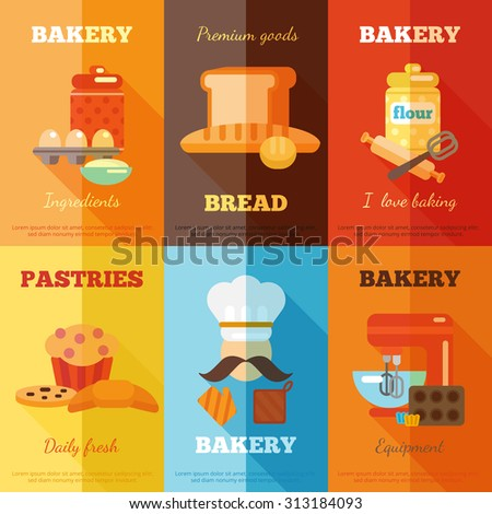 Bakery mini poster set with premium goods bread daily fresh pastries isolated  illustration - stock photo