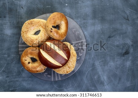 Bakery products photographed from above with copy space on side. - stock photo
