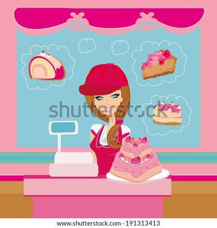 bakery store - saleswoman serving large pink cake - stock photo