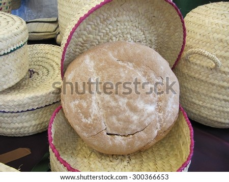 Bakery with wicker container - stock photo