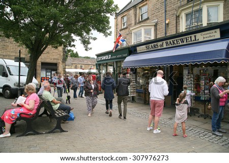 BAKEWELL, DERBYSHIRE, UK. AUGUST 17, 2015.  The busy town on market day at Bakewell in Derbyshire, UK. - stock photo