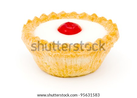 Bakewell tart on a white background - stock photo