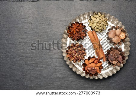 baking background . spicy and spices for baking - stock photo
