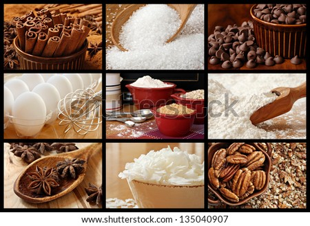Baking collage of fresh ingredients includes sugars, spices, chocolate chips, coconut flakes, pecans, flour, and eggs. - stock photo
