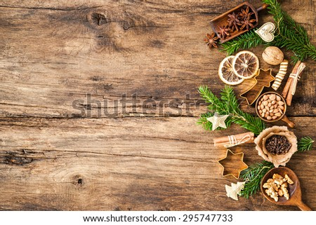 Baking concept background with spices and utensils for Christmas cookies - stock photo