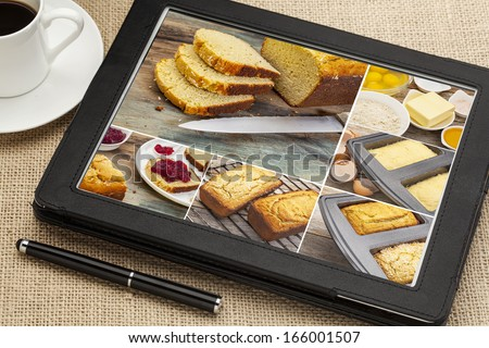 baking gluten free coconut flour bread - a sequence of pictures on a digital tablet, all pictures copyright by the photographer - stock photo
